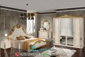 Set Tempat Tidur Mewah Duco Emas Klasik Terbaru Beige PMJ-0022