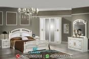 Set Tempat Tidur Duco Putih Mewah Klasik Terbaru Janairo PMJ-0025