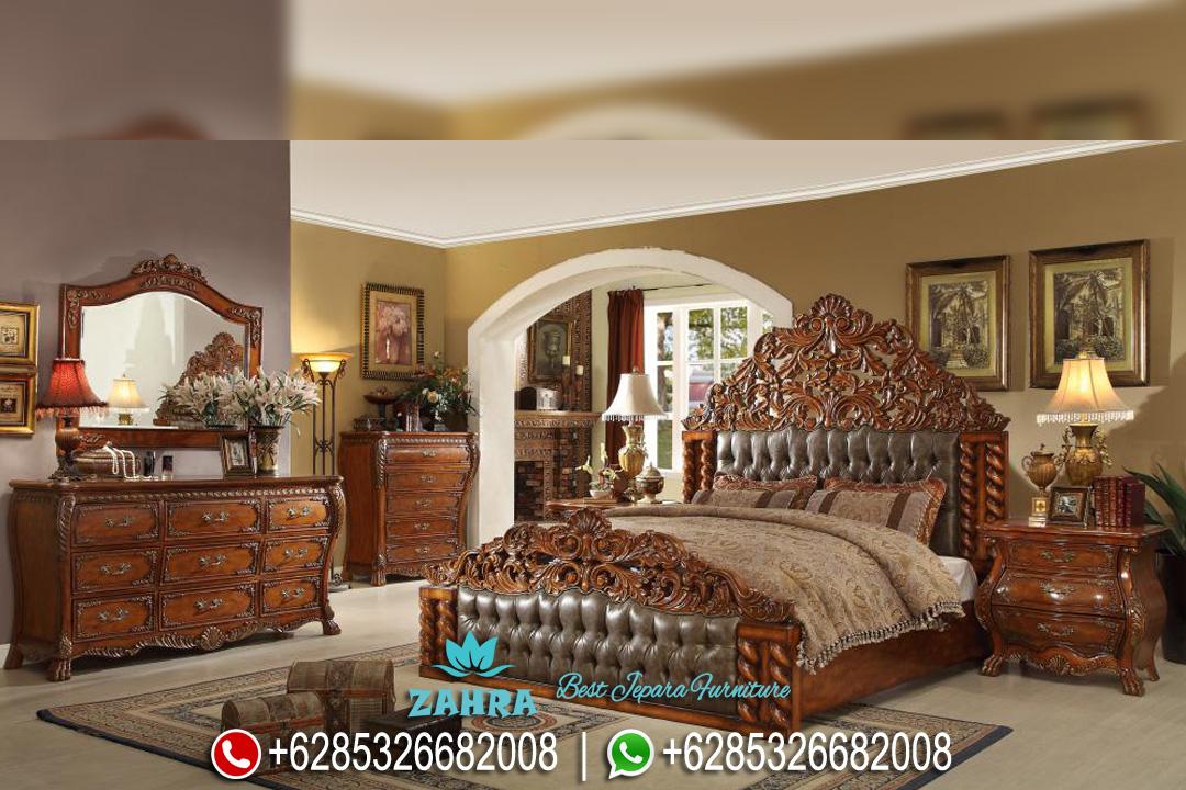 Set Tempat Tidur Mewah Jati Ukir Klasik Terbaru PMJ-0057