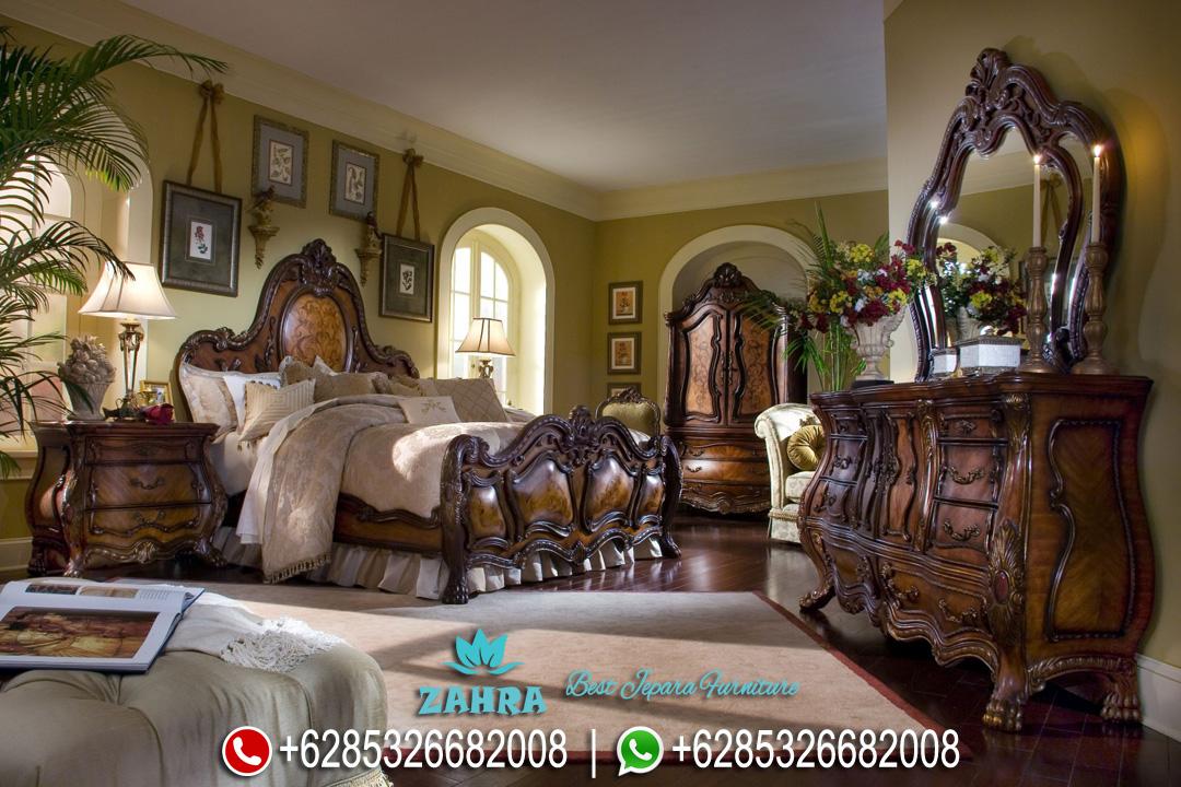 Set Kamar Tidur Jati Mewah Natural Klasik Terbaru Aico PMJ-0102