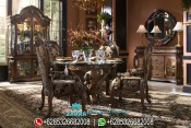 Meja Makan Jati Oval Ukiran Klasik Mewah Terbaru PMJ-0034