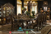Set Meja Makan Mewah Ukiran Klasik Kayu Jati Terbaru PMJ-0031