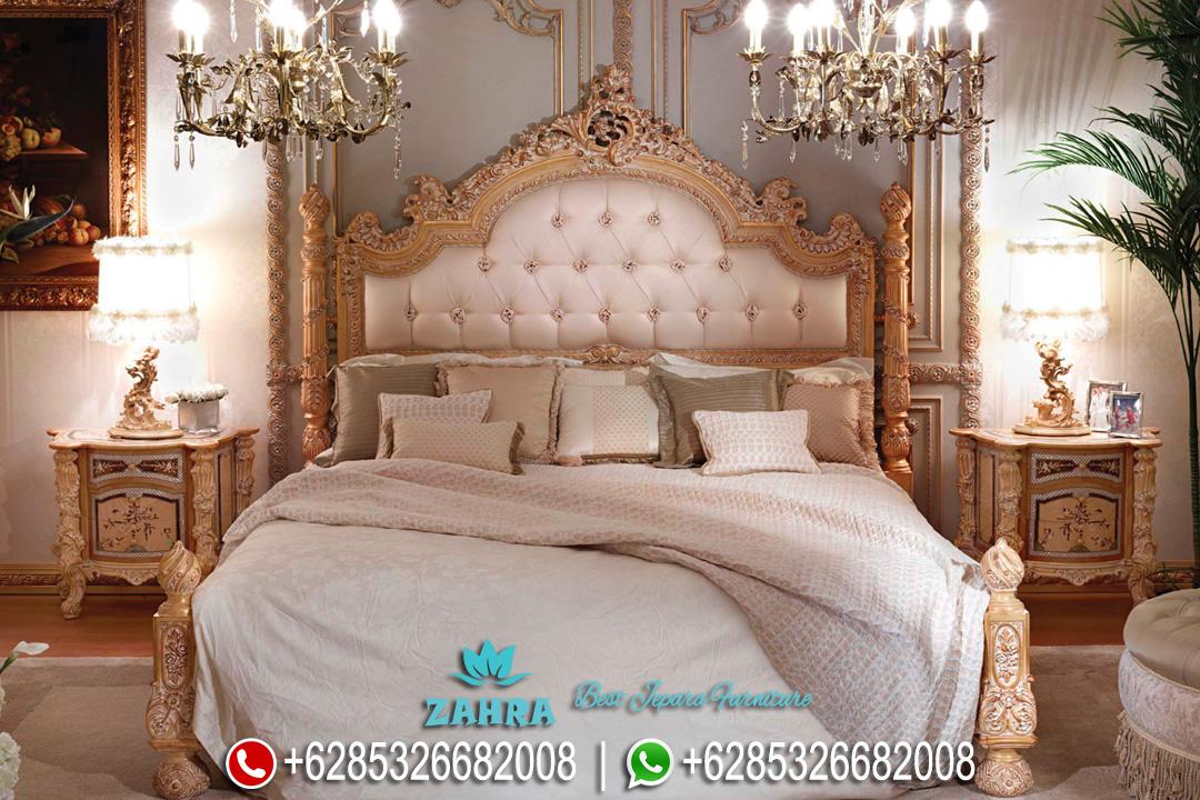Set Tempat Tidur Jati Mewah Ukir Jepara Klasik Terbaru PMJ-0134